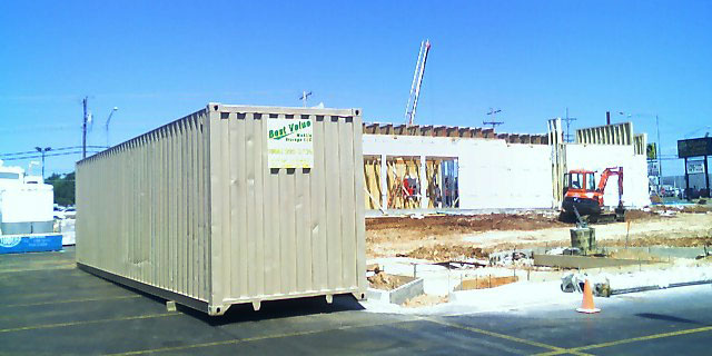 Best Value Mobile Storage LLC storage container on a construction site