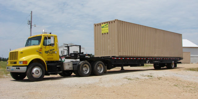 Best Value Mobile Storage LLC Truck Deilvering a storage container