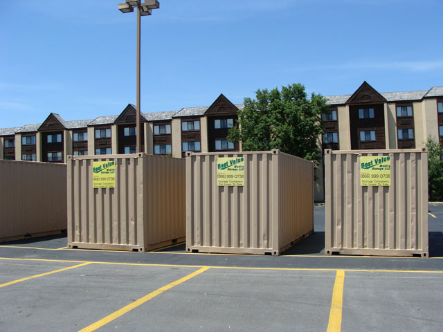 A set of rental containers on a job location in Lebanon