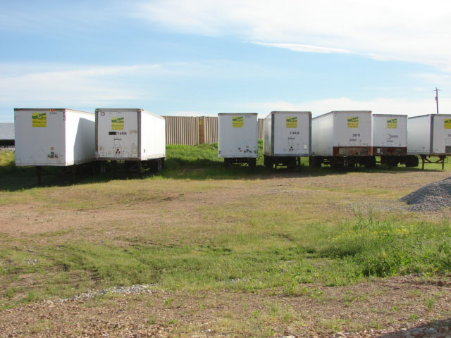A series of storage trailers available on the Best Value Mobile Storage lot