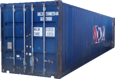 An example of a blue sales container