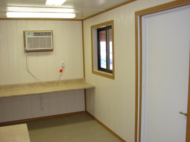 Inside example of a mobile office with air conditioner