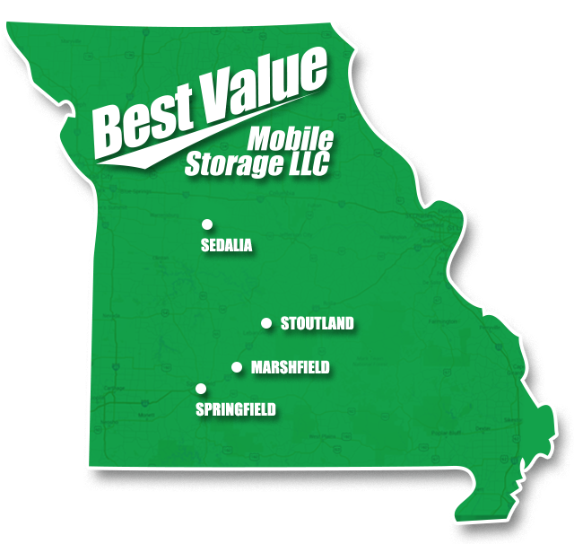 Map of Missouri with Best Value Mobile Storage locations is Springfield, Marshfield, Stoutland, and Sedalia